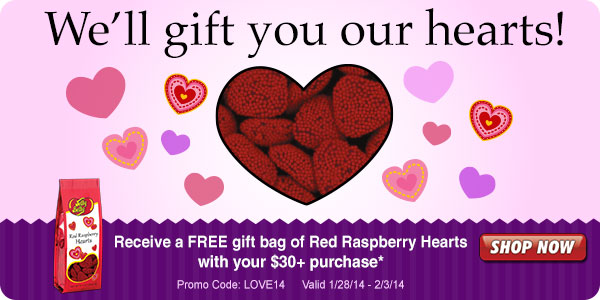 Free Red Raspberry Hearts Gift Bag with Your $30+ Purchase!