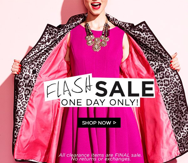 Flash Sale! One Day Only! Shop Now