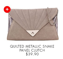 NEW LOOK Quilted Metallic Snake Panel Clutch
