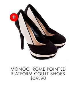 NEW LOOK Monochrome Pointed Platform Court Shoes
