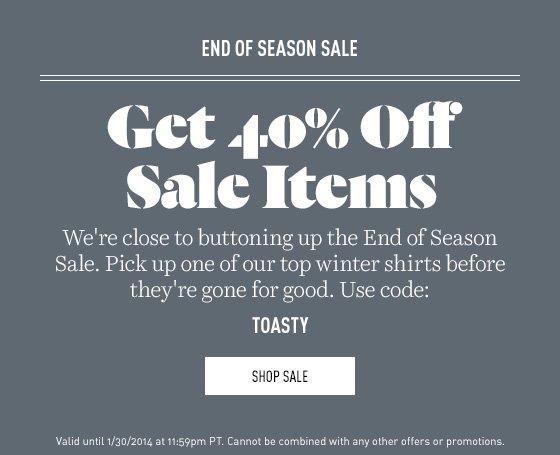 40% off End of Season Sale