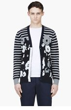 SACAI Navy Stripe & Floral Cardigan for men