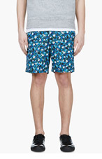 SACAI Blue FLORAL Print SHORTS for men