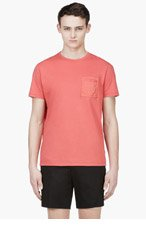CALVIN KLEIN COLLECTION Coral Red Nylon Pocket T-Shirt for men
