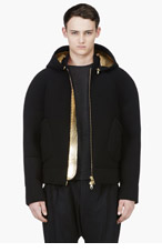 DENIS GAGNON Black Neoprene Hooded Bomber Jacket for men