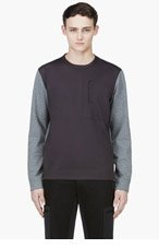 CALVIN KLEIN COLLECTION Heathered Grey & Black Crewneck Sweater for men
