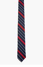 THOM BROWNE Navy & Red Striped Tie for men