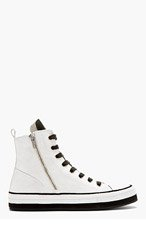 ANN DEMEULEMEESTER Grey & Black suede High-top sneakers for men