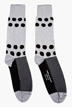 COMME DES GARÇONS HOMME PLUS Grey Polka Dot Tall Socks for men