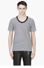 SACAI Navy Stripe Scoop Neck T-Shirt for men