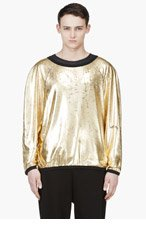 DENIS GAGNON Gold Lamé Oversize Boatneck Top for men