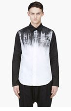 DENIS GAGNON Black & White Hand Painted Shirt for men
