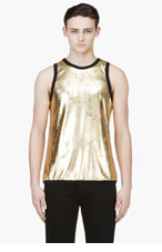 DENIS GAGNON Gold lamé Distressed Tank Top for men