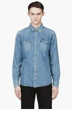 LEVI'S Blue denim BARSTOW WESTERN SHIRT for men