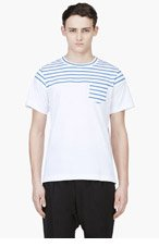 SACAI White & Blue Striped T-Shirt for men