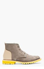 JUNYA WATANABE Grey & Beige Lace-Up Ankle Boots for men