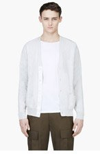 SACAI Heather Grey Contrast Back Cardigan for men