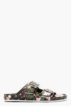 GIVENCHY Black Leather Floral Print Slip-On Sandals for men