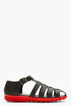 CHRISTOPHER KANE Black Matte Leather Contrast Sole Sandals for men