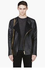 DENIS GAGNON Black & Gold Zip Detail Biker Jacket for men
