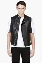 PUBLIC SCHOOL Black Lambskin Leather Vest for men