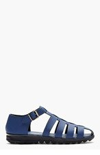 CHRISTOPHER KANE Blue Matte Leather Sandals for men