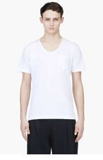 SACAI White & Ivory Scoop Neck T-Shirt for men