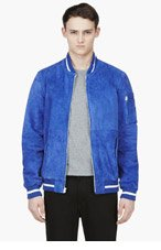 LEVI'S Cobalt Blue Suede Baseball Jacket for men