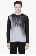 DENIS GAGNON Black Hand Painted Shear Crewneck Top for men