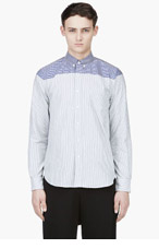 SACAI Grey & Blue Striped Shirt for men