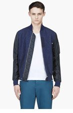 SACAI Navy denim & nylon bomber for men