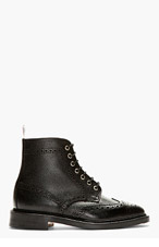 THOM BROWNE Black Pebbled Leather Wing Tip Boot for men