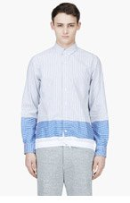 SACAI BLUE Strip & check BUTTON DOWN for men