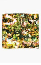 CARVEN Green & brown silk Jungle Print Scarf for women