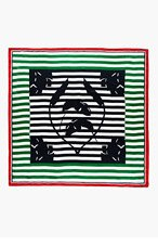 THOM BROWNE Navy & Green Silk Queen Palm Stripe Scarf for women