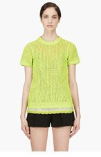 SACAI LUCK Charteuse Open Knit Layered Top for women