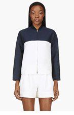 3.1 PHILLIP LIM Navy colorblocked BOXY ZIP JACKET for women