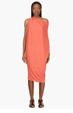 LANVIN Coral Draped Jersey Crepe Dress for women