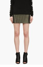 CEDRIC CHARLIER Green & silver wire woven skirt for women