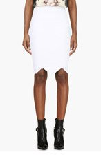 ALEXANDER MCQUEEN White Embossed Stretch Pencil Skirt for women