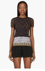 VERSUS Olive Jersey Leopard Print T-Shirt for women