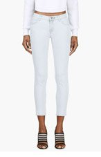 CHRISTOPHER KANE Pale Blue Crystal Button Skinny Jean for women