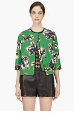 JONATHAN SAUNDERS Green Floral Print Cropped Boxy Jacket for women