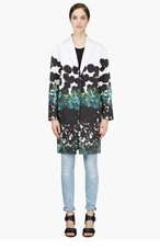 CEDRIC CHARLIER Black & White Painted Abstract Print Coat for women