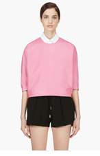 ALEXANDER WANG Pink Dolman Sleeve Leather Top for women
