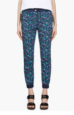 SACAI LUCK Blue Flower Print Cropped Trousers for women