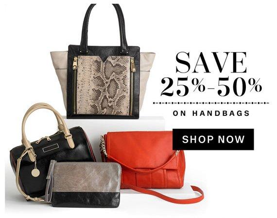 Save 25%-50% on Handbags. Shop Now.
