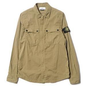 Stone Island Cotton Nylon Popline Shirt Jacket Verde Olivia