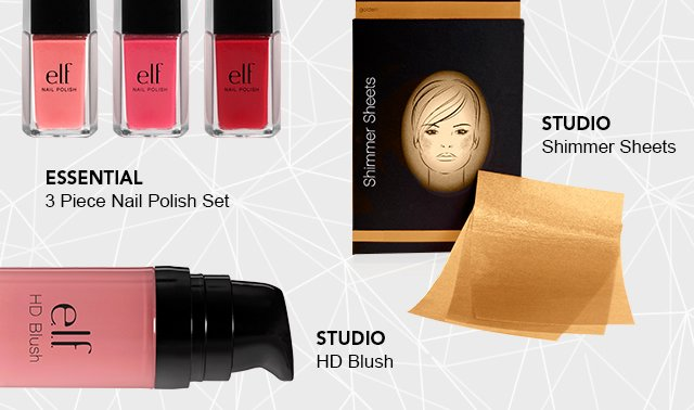Essential 3 Piece Nail Polish Set and Studios' HD Brush and Shimmer Sheets