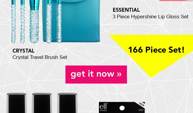 Essential 3 Piece Hypershinee Lip Gloss Set and Crystal Travel Brush Set